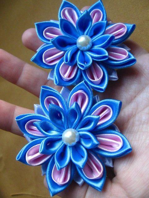 Цветы заколки  из лент 77